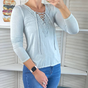 American Eagle blue soft and sexy lace up top
